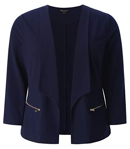 Chicwe Women's Plus Size Stretch Texture Chic Blazer Jacket with Zipper Details Navy 1X