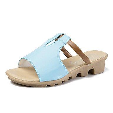 YFF Nouveauté sandales talon similicuir bleu,Strass,US8 / EU39 / UK6 / CN39