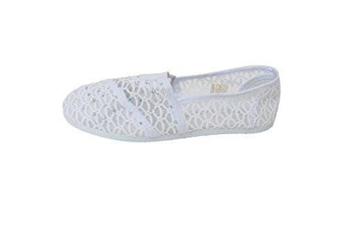Slip On Foral Rhinestone Lace Flats Zapatos Canvas Net Ballerina Flat Casual Boat Punta Redonda Blanco
