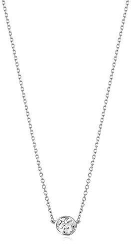 AGS Certified 1/6 Cttw Brilliant-Cut Diamond 14K White Gold Bezel-Set Necklace (K-L Color, I2-I3 Clarity) - 16