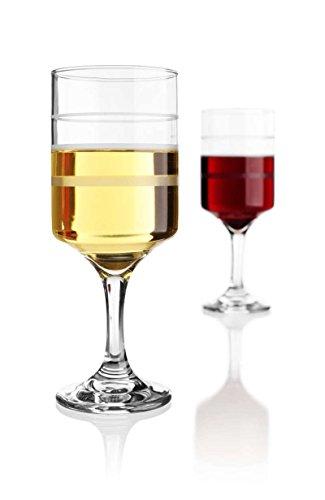 Superior Wine Measuring Glasses Set of 2 Wine-Trax Clear Glass Frosted Lines 4,6,8 Ounces Elegant Subtle Design For Various Beverages and Drinks Ideal for Portion Consumption Control & (Design Wine Glass)