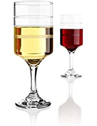 Superior Wine Measuring Glasses Set of 2 Wine-Trax Clear Glass Frosted Lines 4,6,8 Ounces Elegant Subtle Design For Various Beverages and Drinks Ideal for Portion Consumption Control & Diet