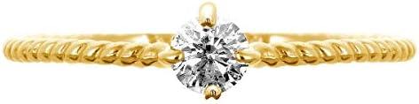 K18 イエローゴールド 一粒 ダイヤモンド リング 0.08ct 指輪 9号 天然 ダイヤモンド 日本製