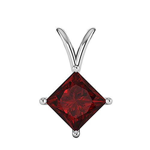 - OMEGA JEWELLERY 1/2 Ct Princess Cut Gemstone 10K White Gold 4-Prong Solitaire Pendant (Ruby)