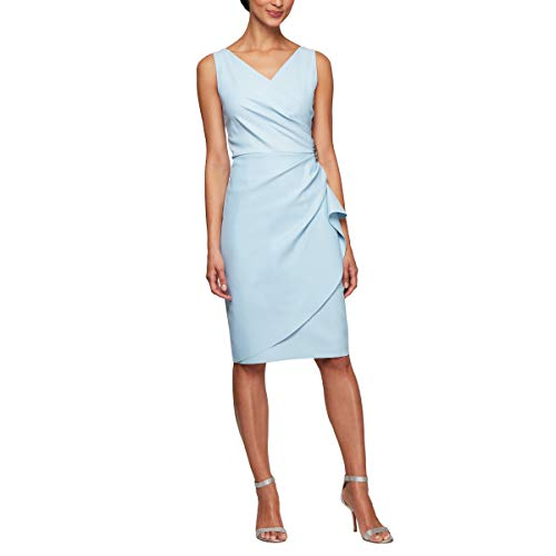 Alex Evenings Women's Slimming Short Ruched Dress with Ruffle Skirt (Petite and Regular Sizes), Light Blue, 10
