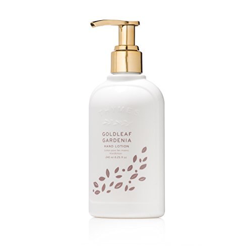 Thymes - Goldleaf Gardenia Hand Lotion with Pump - With Moisturizing Shea Butter, Vitamin E, and Light Floral Scent - 8.25 oz