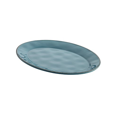 Rachael Ray Cucina Dinnerware 10-Inch x 14-Inch Stoneware Oval Platter, Agave Blue