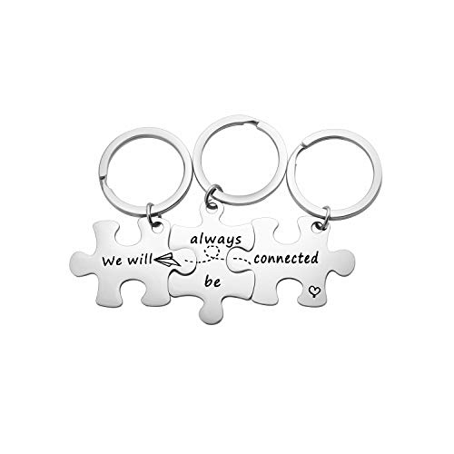 MYOSPARK We Will Always Be Connected Puzzle Keychain Set of 3 Long Distance Relationship Gift for Best Friends Family (3PCS Connected Keychain Set)