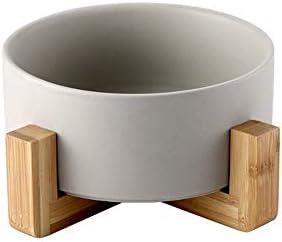 WZZJP セラミックサラダボウル食品容器北欧創造的なカラフルな丸い形の木製フレーム簡単洗浄3色 (Color : グレー, Size : Wooden frame)