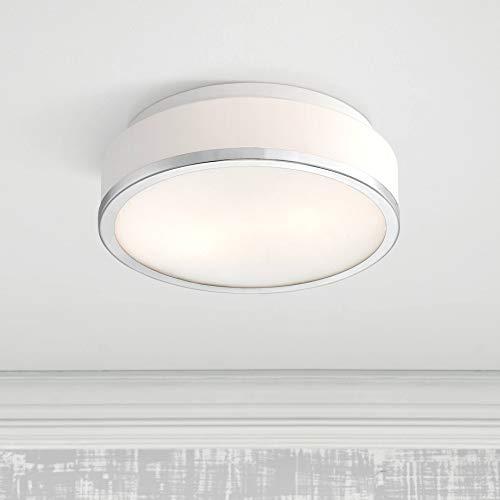 (Mavis Modern Ceiling Light Flush Mount Fixture Drum Chrome 10 1/4