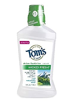 Tom s of Maine Long Lasting Wicked Fresh Cool Mountain Mouth Wash Bottle, Mint, 16 Ounce Pack of 6