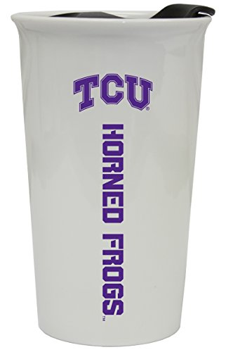 TCU HORNED FROGS CERAMIC TUMBLER w/ LID-TEXAS CHRISTIAN UNIVERSITY TRAVEL MUG - Tumbler Frog