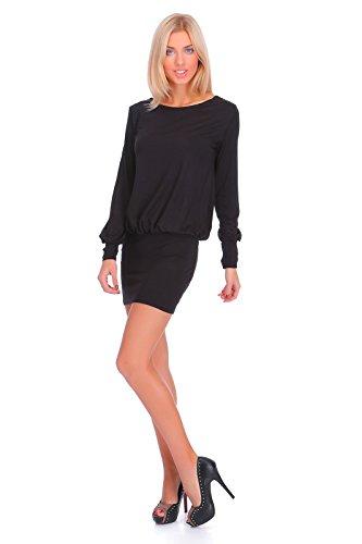 Col FASHION Femmes Bateau Robe Mini 8998 lgant Noir Longues FUTURO Manches qXPEw6dXx