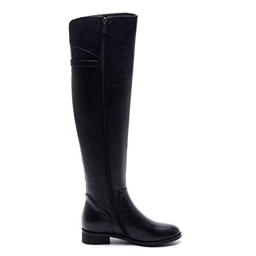 Nueve siete piel auténtica de Chunky y punta redonda talón por encima de la rodilla de alta muslo alto cremallera hecho a mano para mujer black-leather