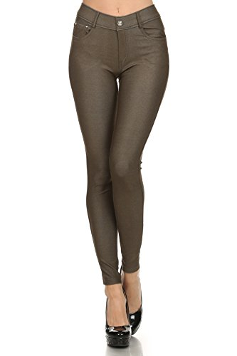 ICONOFLASH Women's Jeggings - Pull On Slimming Cotton Jean Like Leggings (Army Green, Small) - Skinny Leg Tight