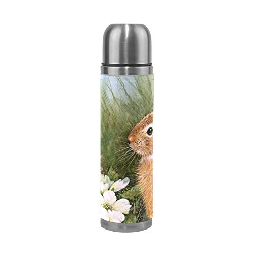 Coffee Thermos Rabbit & Flower Cycling Vacuum Insulated Kids Thermos Flask Stainless Steel Water Bottles + Drink Cup Top + Leather Cover Fits Backpack Lunchbox 17oz / 500ml