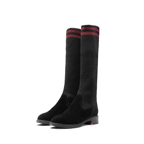 HYDONGX Bottes à Talons Chaussettes Bottes Femmes épaisses avec des des avec Chaussures à Talons Hauts Automne et Hiver élastiques Sports Longues Tube mais Le Genou 35|Black red velvet b51362