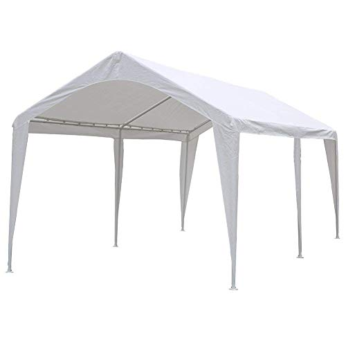 Abba Patio 10 x 20 Ft Heavy Duty Carport Canopy with 6 Steel Leg Support, White (X 20 Blocks Patio 20)