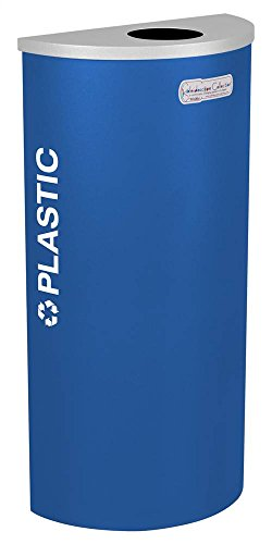 - Kaleidoscope Collection Ex-Cell Recycling Container - Half Round Container with Plastic Lid - Blue - Blue