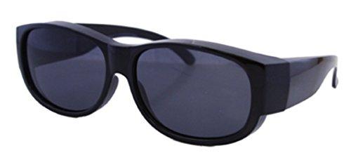 Men and Women Unisex Sun Shield Fit Over Sunglasses Polarized - Wear Over Prescription Glasses - Cover Over Glasses - Size Medium in Black (Microfiber Pouch - Night At Where Sunglasses