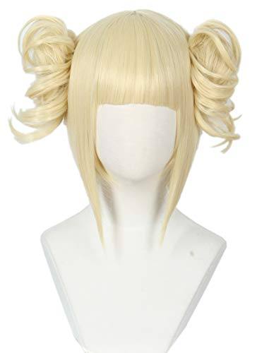 Linfairy Anime Cosplay Wig Short Halloween Costume Hero Wig (Blonde bun) -