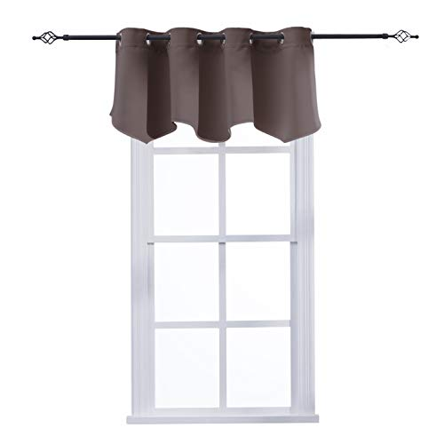 (Aquazolax Blackout Window Valance Curtains for Living Room Grommets Top Scalloped Curtain Valances for Kitchen, 52