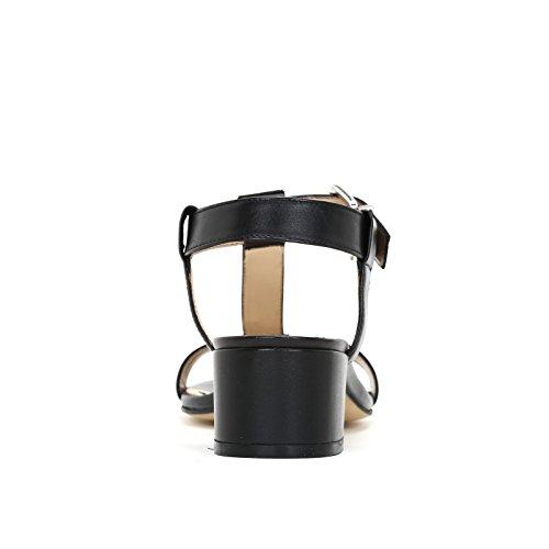 ALESYA by Scarpe&Scarpe - Sandalias altas con accesorios plateados, de Piel, con Tacones 5 cm Negro
