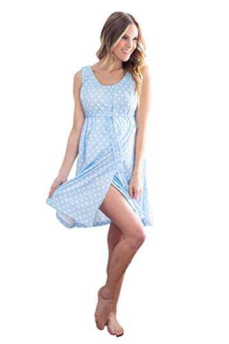 Baby Be Mine 3 in 1 Labor/Delivery/Nursing Gown Maternity (S/M, Blue Polka Dot)