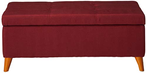 Christopher Knight Home Living Katherine Red Tufted Fabric Storage Ottoman, 19.25D x 38.00W x 16.25H