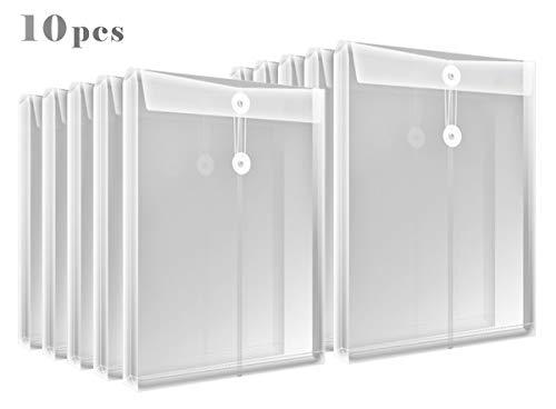 (Letter Size Clear Plastic String Envelopes with Expansion File Paper Project Folder Envelope Holder 10Pcs)