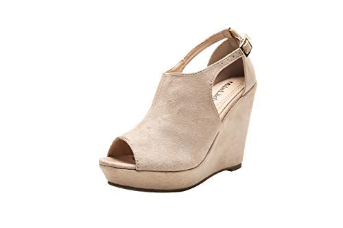 Mila Lady Lisa 2 Women's Platform Wedges Cutout Side Straps, Peep-Toe Ankle Bootie, Heeled Sandal. NUDE8