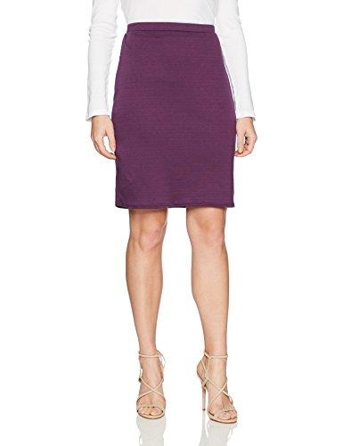 Star Vixen Women's Petite Knee Length Classic Stretch Pencil Skirt, Plum, PL