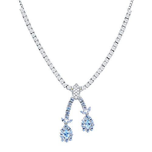 Orchid Jewelry 26.30 Ct Blue Topaz Pear and Blue Sapphire 925 Sterling Silver Pendant for Women: Nickel Free Beautiful and Stylish Birthday Gift for Mother and Wife