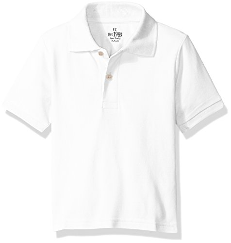 The Children's Place Baby Toddler Boys' Short Sleeve Uniform Polo, White 0049, 3T