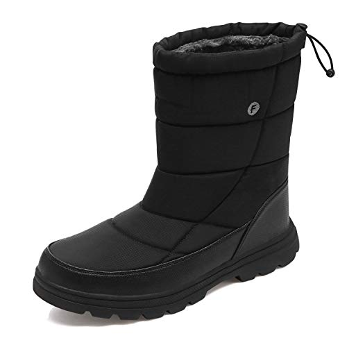 AIRIKE Mens Snow Boots Waterproof Winter Warm Shoes Anti Slip Insulated Fur Lining