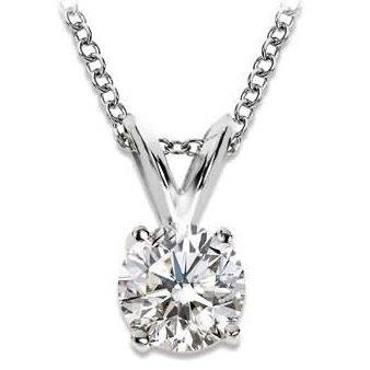 1/2 Carat 4 Prong Solitaire Basket Diamond Pendant Necklace 14K White Gold (K, I2, 0.5 ctw)
