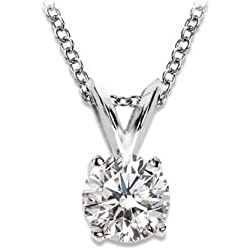 1/2-1.5 Carat 14K White Gold 4 Prong Diamond Pendant Value Collection (K-L I1-I2)