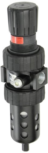 Parker 06E36B13AC1  One Piece Filter/Regulator, 1/2'' BSPP, Polycarbonate with Metal Bowl Guard, Auto Float Drain, 5 micron, 61 scfm, Relieving Type, 2-125 psig Pressure Range, without Gauge by Parker Hannifin