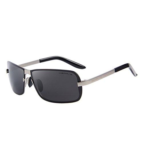 MERRY'S Men Sunglasses HD Polarized Sun glasses Luxury Shades UV400 S8722 (Silver&Black, - Black Stores Sunglasses Fly
