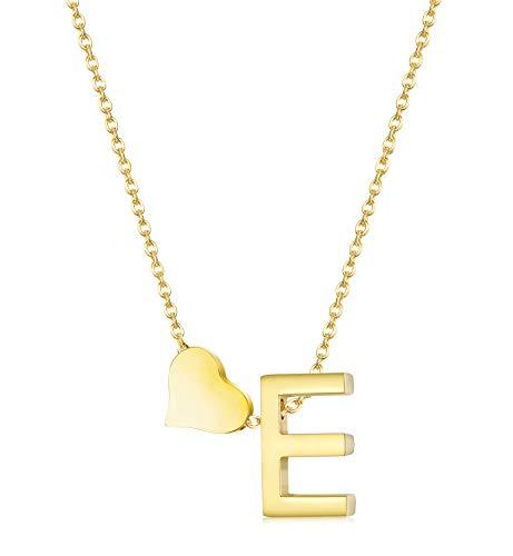 (Hanpabum Gold Tone Initial Alphabet Heart Pendant Necklace A-Z Letter Pendant Choker Jewelry Gift for Her (E))