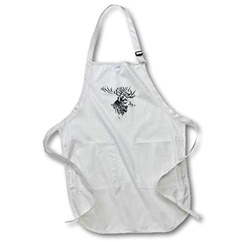 3dRose Lens Art by Florene - Black and White - Image of Beautiful Vintage Sketch of Moose Portrait - Full Length Apron with Pockets 22w x 30l (apr_317083_1) ()