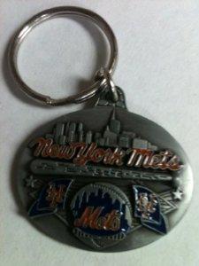 Pewter MLB Team Design Key Ring - New York Mets - NY Mets