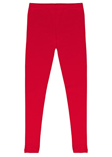 CAOMP Girls'%100 Organic Cotton Leggings for School Play (7/8, Red)