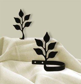 VWI CUR-TB-76 Leaf Tie Backs Powder Coated by Village Wrought Iron