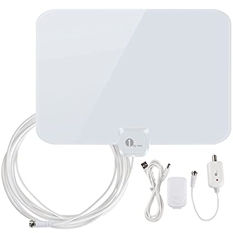 HDTV Antenna, 1byone Indoor Amplified TV Antenna 50 Mile Range with Creative Adjustable Amplifier Booster, USB Power Supply and Longer 20FT High Performance Coaxial Cable-Shiny White Antenna