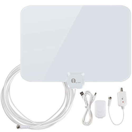 1byone 50 Miles Amplified HDTV Antenna with Amplifier Booster USB Power Supply to Boost Signal and 20ft Coaxial Cable, Shiny Antenna