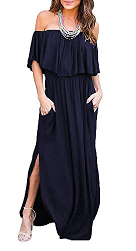 Othyroce Women's Off Shoulder Summer Casual Long Ruffle Beach Navy Maxi Dress with Pockets -