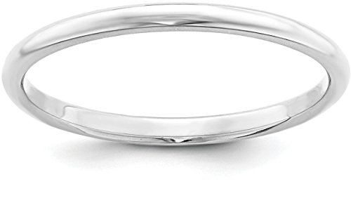 Sterling Silver 2mm Plain Half-Round Classic Wedding Band - Size 5.5 (Polished Finish Band Silver Plain)