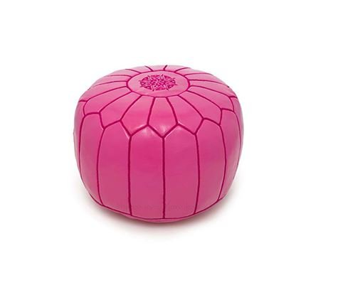 Moroccan Leather Pouf Footstool with Embroidery [STUFFED] Mad Crush Rose Pink [SHIPS FROM WITHIN USA]