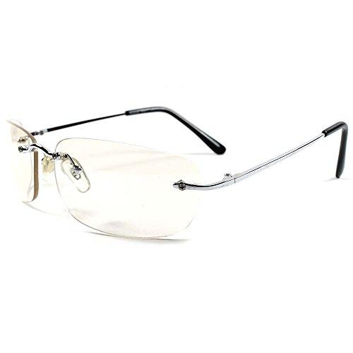 Sporty Cool Mens Womens Stylish Rimless Wrap Rectangle Sunglasses (Light Tint / - Rectangle Sunglasses Rimless